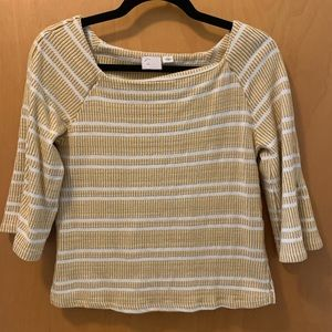 Anthropologie golden and cream striped blouse